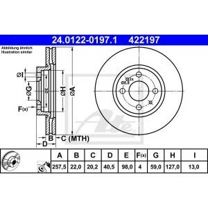 ATE 24.0122-0197.1 Тормозной диск Лансия