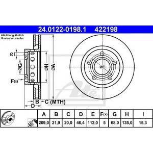 ATE 24.0122-0198.1 Тормозной диск Ауди А8
