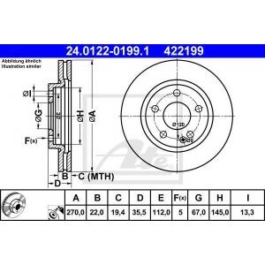ATE 24.0122-0199.1 Тормозной диск Мерседес Ванео