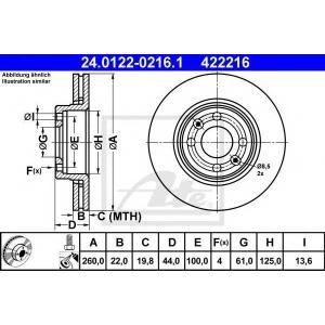 ATE 24.0122-0216.1 Тормозной диск Дача Логан Експрес