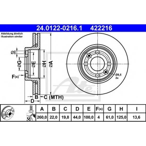 ATE 24.0122-0216.1 Тормозной диск Дача Логан Mcb