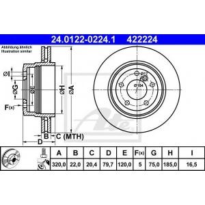 ATE 24.0122-0224.1 Тормозной диск Бмв Х3