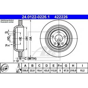 24012202261 ate Тормозной диск MERCEDES-BENZ R-CLASS вэн R 350 CDI 4-matic (251.023, 251.123)