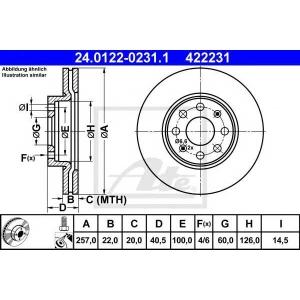 ATE 24.0122-0231.1 Тормозной диск Фиат Пунто Эво
