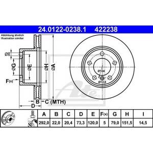 ATE 24.0122-0238.1 Тормозной диск Бмв 1