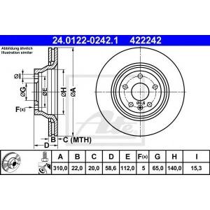 ATE 24.0122-0242.1 Тормозной диск Ауди Тт