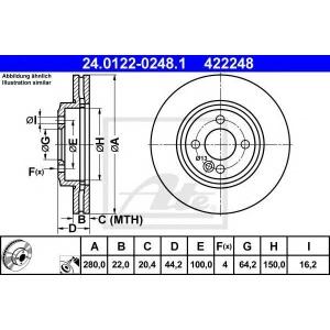 ATE 24.0122-0248.1 Тормозной диск Мини