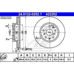 ATE 24.0122-0252.1 Тормозной диск Фиат Седики
