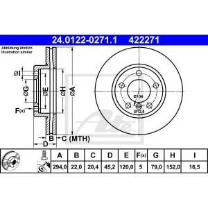 ATE 24.0122-0271.1 Тормозной диск Мини