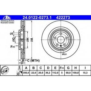 ATE 24.0122-0273.1 Тормозной диск Ауди А7 Спортбэк