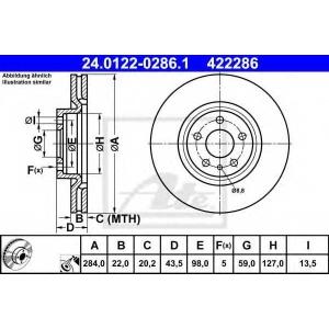 ATE 24.0122-0286.1 Тормозной диск Фиат 500Л