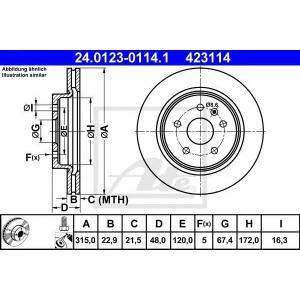ATE 24.0123-0114.1 Тормозной диск Опель Инсигния