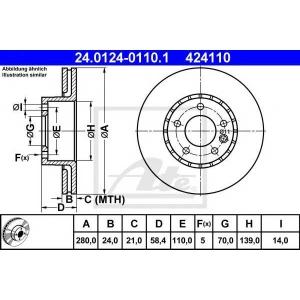ATE 24.0124-0110.1 Тормозной диск Опель Омега