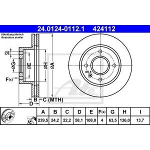 ATE 24.0124-0112.1 Тормозной диск Форд Сиерра