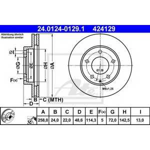 ATE 24.0124-0129.1 Тормозной диск Мазда Кседос 6