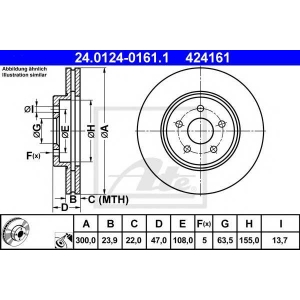 ATE 24.0124-0161.1 Тормозной диск Ягуар Икс Тайп