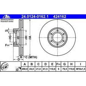 ATE 24.0124-0162.1 Тормозной диск Опель Мовано