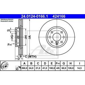 ATE 24.0124-0166.1 Тормозной диск Опель Тигра