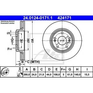 ATE 24.0124-0171.1 Тормозной диск Рено Сафране