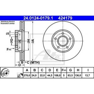 ATE 24.0124-0179.1 Тормозной диск Форд Транзит Коннект