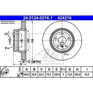 ATE 24.0124-0216.1 Тормозной диск Бмв Х5