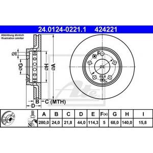 ATE 24.0124-0221.1 Тормозной диск Рено Флюенсе