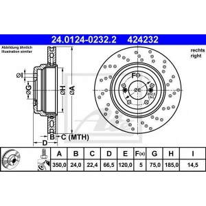 ATE 24.0124-0232.2 Тормозной диск Бмв 1