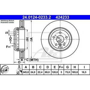 ATE 24.0124-0233.2 Тормозной диск Бмв 5