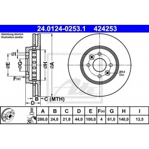 ATE 24.0124-0253.1 Тормозной диск Дача Лоджи