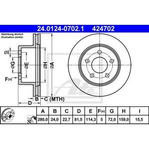 ATE 24.0124-0702.1 Тормозной диск Джип Чероки