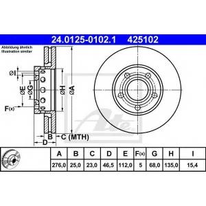 ATE 24.0125-0102.1 Тормозной диск Ауди Куаттро