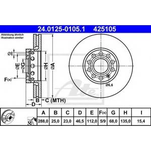 ATE 24.0125-0105.1 Тормозной диск Ауди А6