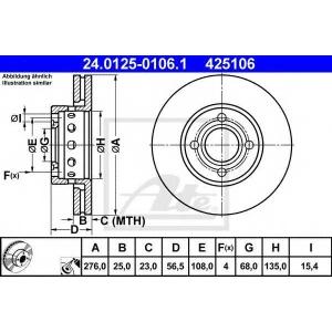 ATE 24.0125-0106.1 Тормозной диск Ауди 80