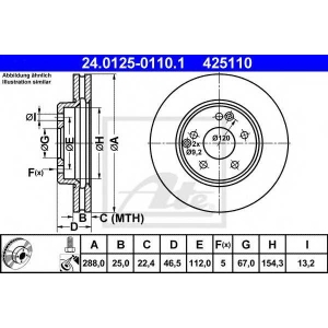 ATE 24.0125-0110.1 Тормозной диск Мерседес Цлц-Класс