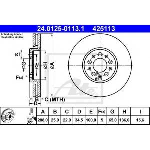 ATE 24.0125-0113.1 Тормозной диск Ауди А1