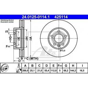 ATE 24.0125-0114.1 Тормозной диск Форд Галакси