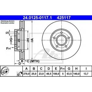 ATE 24.0125-0117.1 Тормозной диск Форд Фокус Ц-Макс