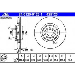 ATE 24.0125-0123.1 Тормозной диск Ауди Тт