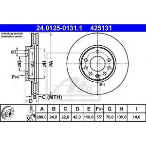 ATE 24.0125-0131.1 Тормозной диск Опель Зафира