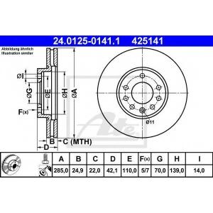 ATE 24.0125-0141.1 Тормозной диск Фиат Хрома