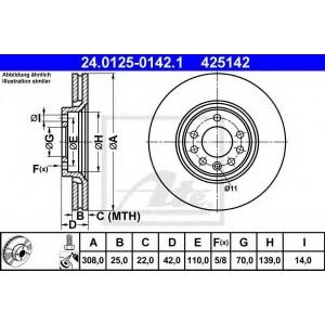 ATE 24.0125-0142.1 Тормозной диск Опель Зафира