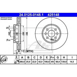 ATE 24.0125-0148.1 Тормозной диск Опель Комбо
