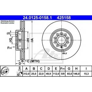 ATE 24.0125-0158.1 Тормозной диск Ауди Тт