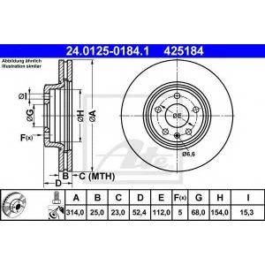 ATE 24.0125-0184.1 Тормозной диск Ауди А5 Спортбэк