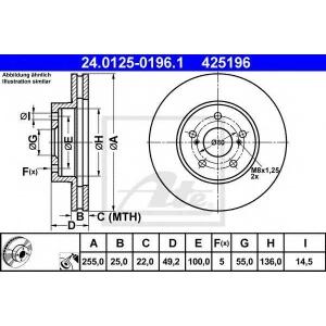 ATE 24.0125-0196.1 Тормозной диск Лексус Ст