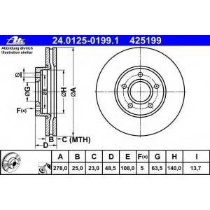 ATE 24.0125-0199.1 Тормозной диск Форд Фокус Турниер