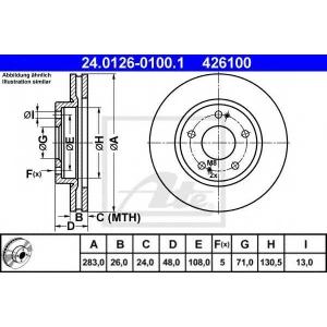 ATE 24.0126-0100.1 Тормозной диск Ситроен Хм