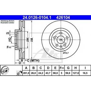ATE 24.0126-0104.1 Тормозной диск Фиат