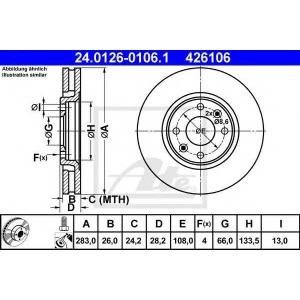 ATE 24.0126-0106.1 Тормозной диск Ситроен Ксантия
