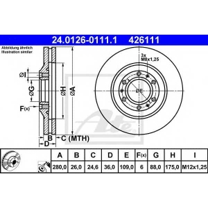 ATE 24.0126-0111.1 Тормозной диск Опель Фронтера